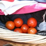 bringing in sun-dried washing and little home grown tomatoes