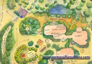 This permaculture design was created by April 15 years ago and has travelled the world extensively. It has been used to promote courses and workshops in many countries.