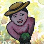 painting of woman with a potted plant gift