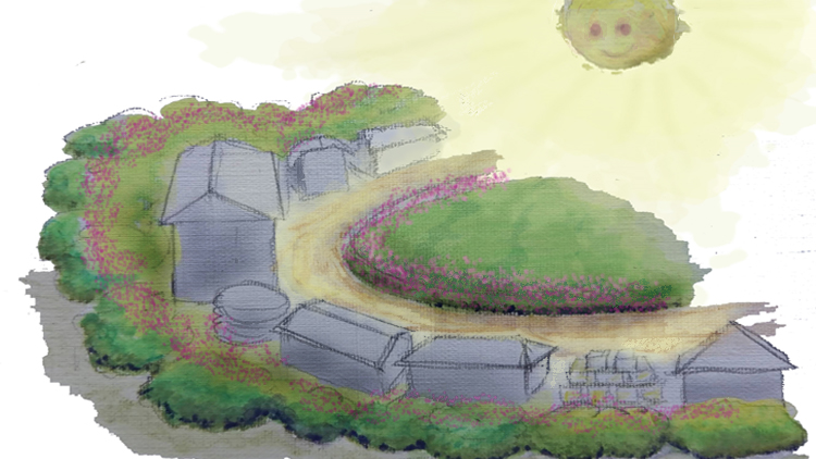 Image of sun smiling on a suntrap designed farm with Link to affordable Microclimates course on Udemy